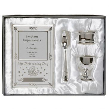 Beautiful Boxed Silver Plated Christening Day Gift Set - 4-Piece